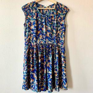 Lands' End Canvas 100% silk abstract print dress 6